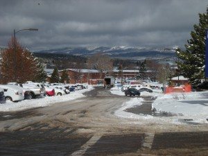 Low clouds and remnant snow define this winter landscape of NAU's central campus.