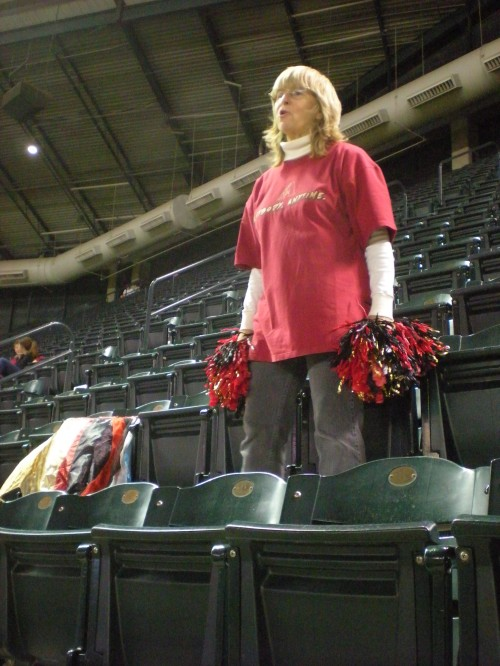 Cindy McBride dances with pom-poms during the 3rd inning of the Diamondbacks v. Phillies game on April 23, 2010.