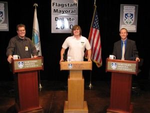 From left to right: Myself, Darryl, and Patrick pose on the set of the first 2010 mayoral debate, a production of the Student Media Center.