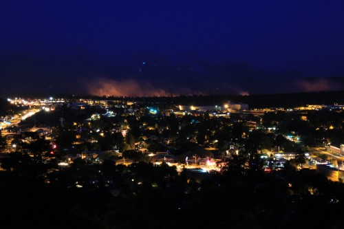 A long exposure of the Hardy Fire southeast of Flagstaff the night after it started.