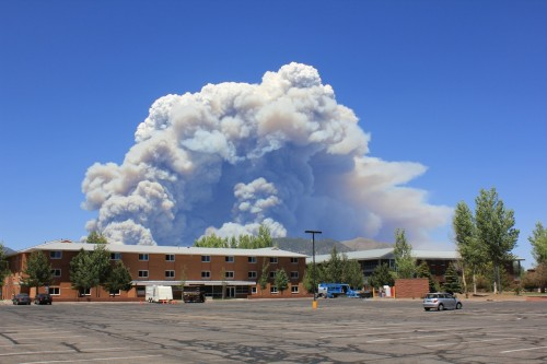 "The ""mushroom cloud"" of smoke from the start of the Schultz Fire, early Sunday afternoon."